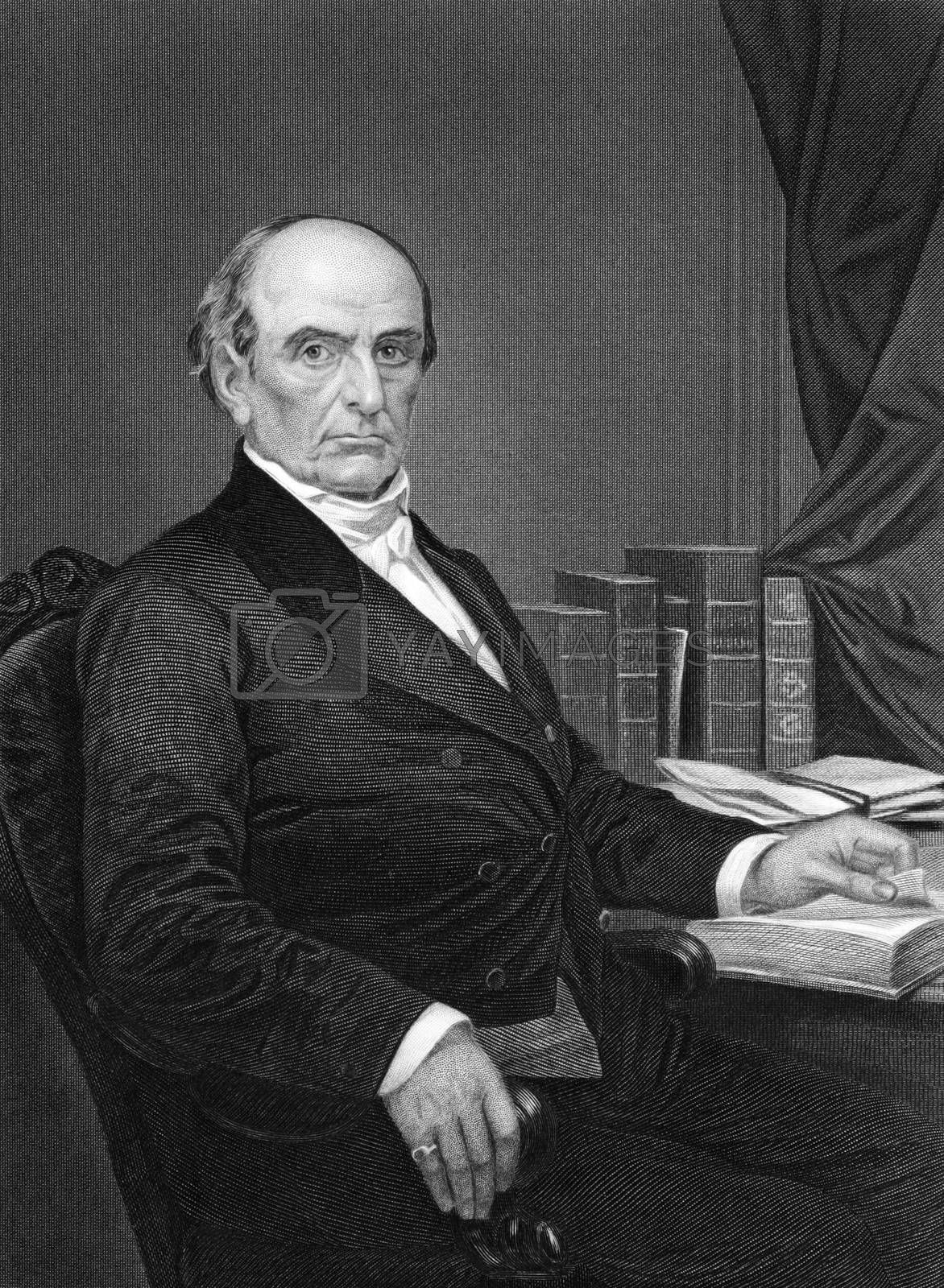 Daniel Webster (1782-1852) on engraving from 1873. Leading American statesman and senator. Engraved by unknown artist and published in ''Portrait Gallery of Eminent Men and Women with Biographies'',USA,1873.