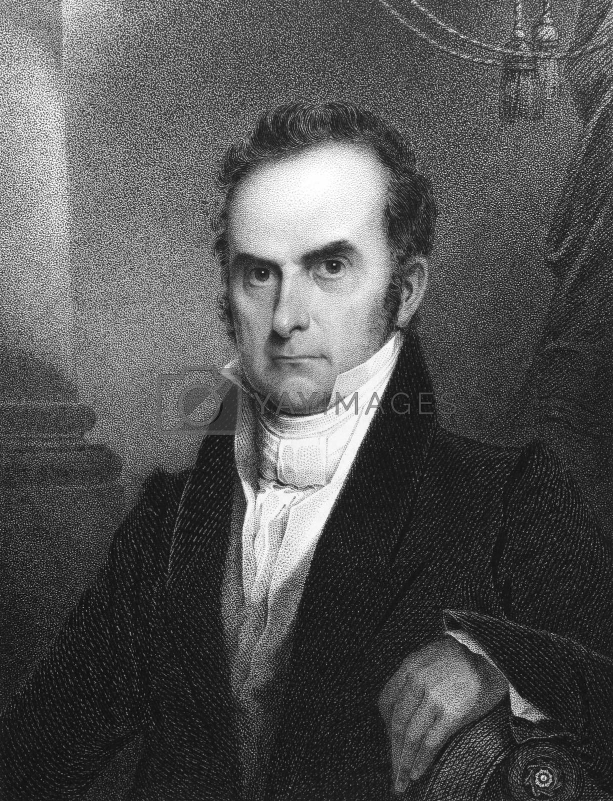 Daniel Webster (1782-1852) on engraving from 1834. Leading American statesman and senator. Engraved by J.B Longacre  and published in ''National Portrait Gallery of Distinguished Americans'',USA,1834.