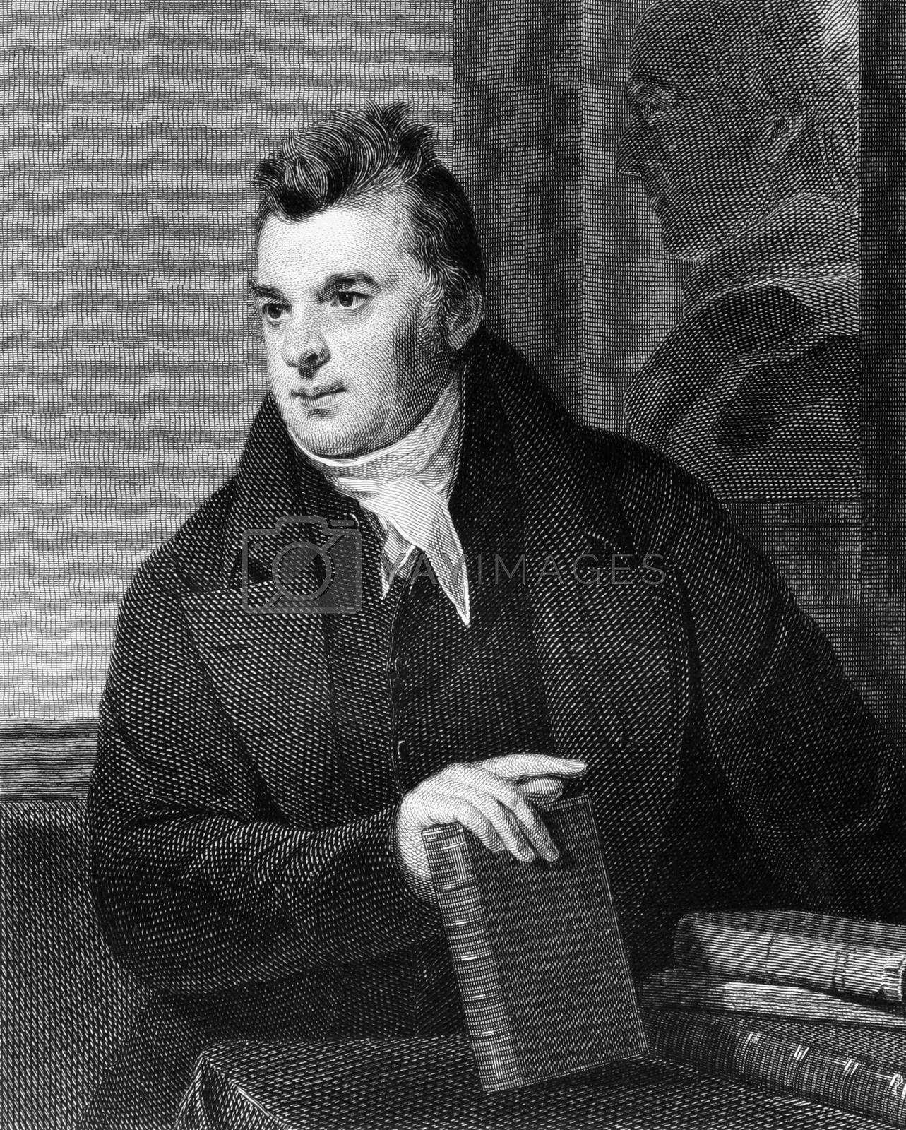 David Hosack (1769-1835) on engraving from 1835. Noted physician, botanist and educator. Engraved by A.B.Durrand and published in''National Portrait Gallery of Distinguished Americans Volume II'',USA,1835.