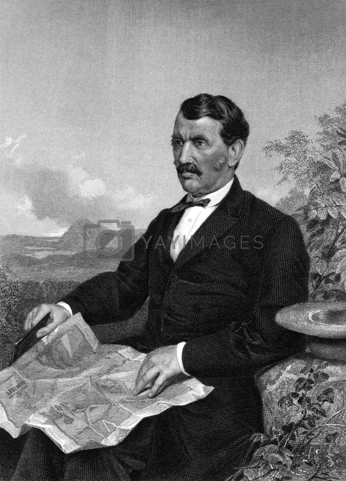 David Livingstone (1813-1873) on engraving from 1873. Scottish Congregationalist pioneer medical missionary with the London Missionary Society and an explorer in Africa. Engraved by unknown artist and published in ''Portrait Gallery of Eminent Men and Women with Biographies'',USA,1873.
