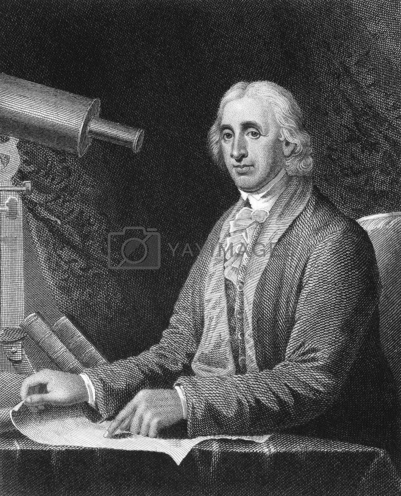 David Rittenhouse (1732-1796) on engraving from 1835. American astronomer, inventor, clockmaker, mathematician, surveyor, scientific instrument craftsman and public official. Engraved by J.B.Longacre and published in''National Portrait Gallery of Distinguished Americans Volume II'',USA,1835.