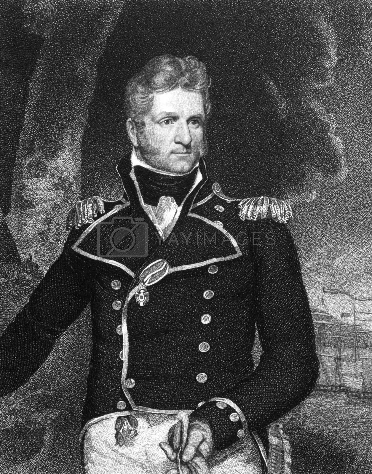 Thomas Macdonough (1783-1825) on engraving from 1834. American naval officer. Engraved by J.B Forrest and published in ''National Portrait Gallery of Distinguished Americans'',USA,1834.