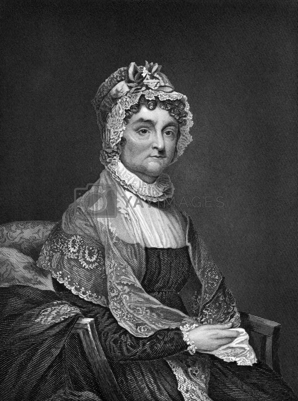 Abigail Adams (1712-1786) on engraving from 1873. Wife of John Adams president of the USA. Engraved by unknown artist and published in ''Portrait Gallery of Eminent Men and Women with Biographies'',USA,1873.