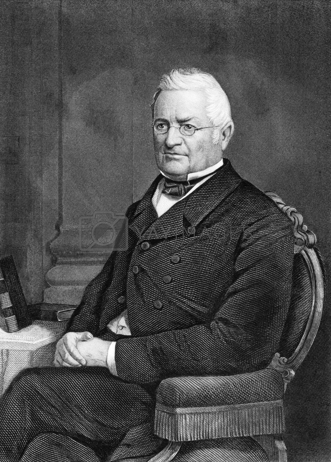 Adolphe Thiers (1797-1877) on engraving from 1873.  French politician and historian. Engraved by unknown artist and published in ''Portrait Gallery of Eminent Men and Women with Biographies'',USA,1873.