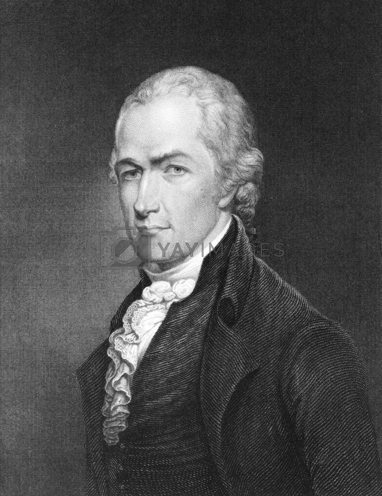 Alexander Hamilton (1755-1804) on engraving from 1835. Founding father of the United States. Engraved by E.Prudhomme and published in ''National Portrait Gallery of Distinguished Americans Volume II'',USA,1835.