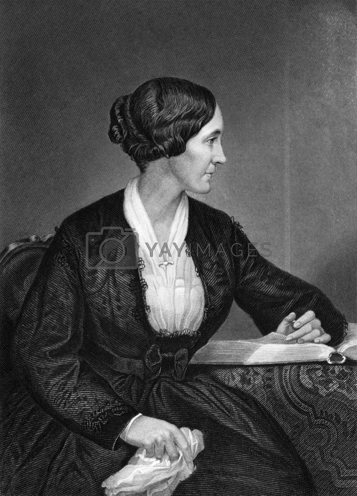 Alice Cary (1820-1871) on engraving from 1873.  American poet. Engraved by unknown artist and published in ''Portrait Gallery of Eminent Men and Women with Biographies'',USA,1873.