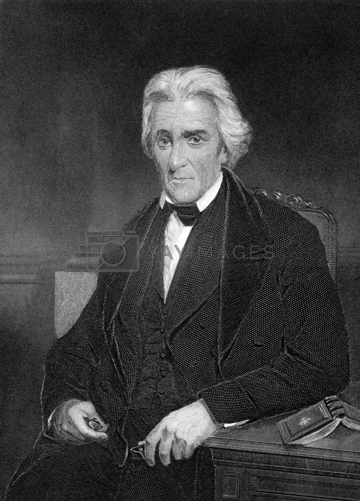 Andrew Jackson (1767-1845) on engraving from 1873. 7th President of the United States during 1829-1837. Engraved by unknown artist and published in ''Portrait Gallery of Eminent Men and Women with Biographies'',USA,1873.