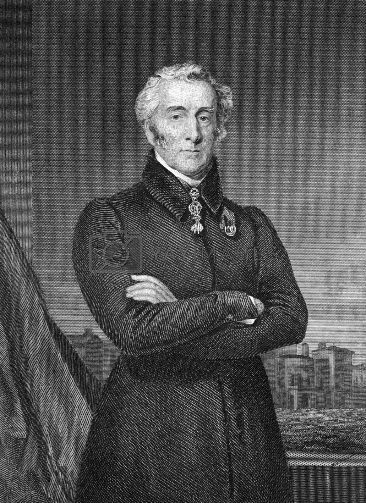 Arthur Wellesley, 1st Duke of Wellington (1769-1852) on engraving from 1873. British soldier and statesman. Engraved by unknown artist and published in ''Portrait Gallery of Eminent Men and Women with Biographies'',USA,1873.