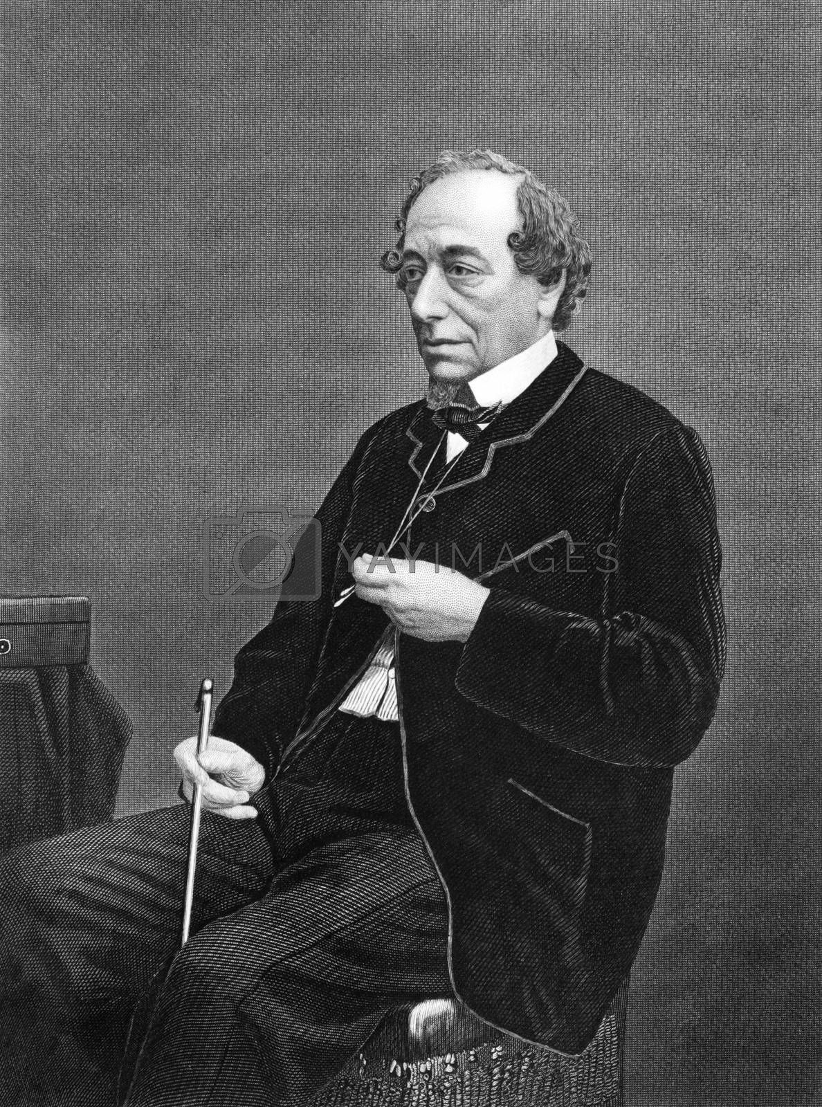 Benjamin Disraeli, 1st Earl of Beaconsfield  (1804-1881) on engraving from 1873. British Prime Minister, parliamentarian, Conservative statesman and literary figure. Engraved by unknown artist and published in  ''Portrait Gallery of Eminent Men and Women with Biographies'',USA,1873.