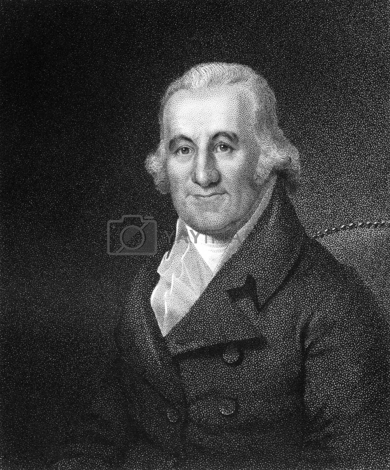 Caspar Wistar (1761-1818) on engraving from 1835.  American physician and anatomist. Engraved by J.B.Longacre and published in''National Portrait Gallery of Distinguished Americans Volume II'',USA,1835.