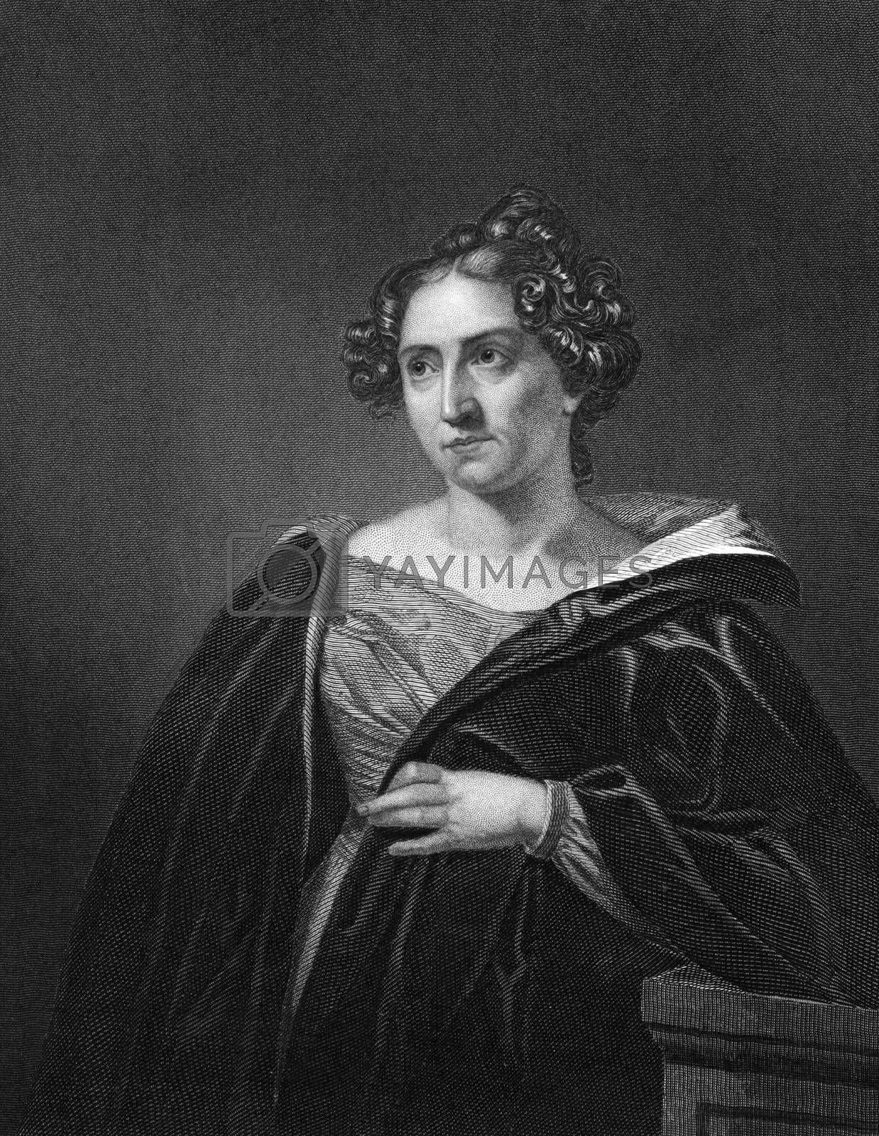 Catharine Sedgwickon (1789-1867) on engraving from 1873. American novelist. Engraved by unknown artist and published in ''Portrait Gallery of Eminent Men and Women with Biographies'',USA,1873.