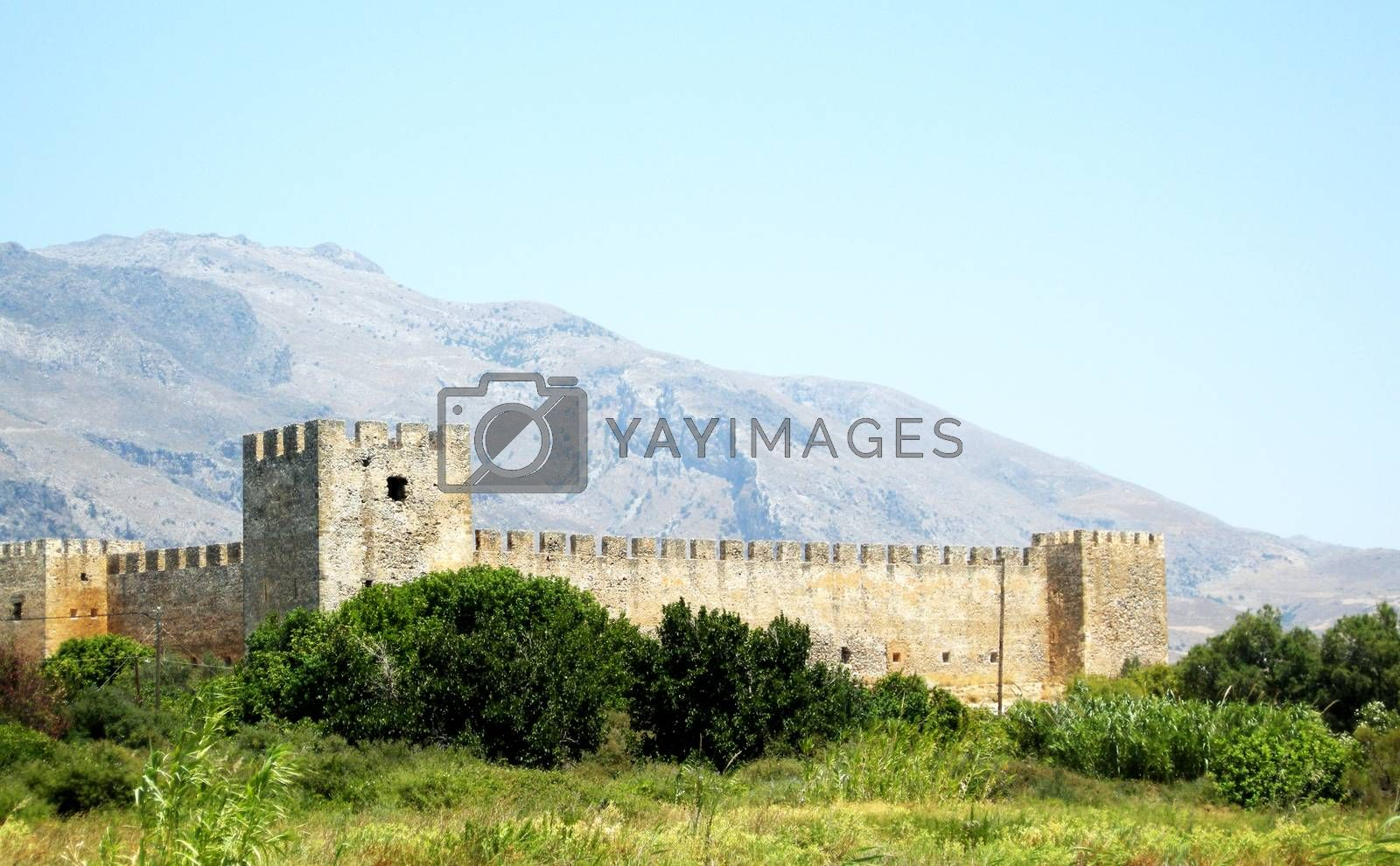 A distant view of the french fort (Fragokastello) in Crete island, Greece.  Picture taken on July 24, 2010.