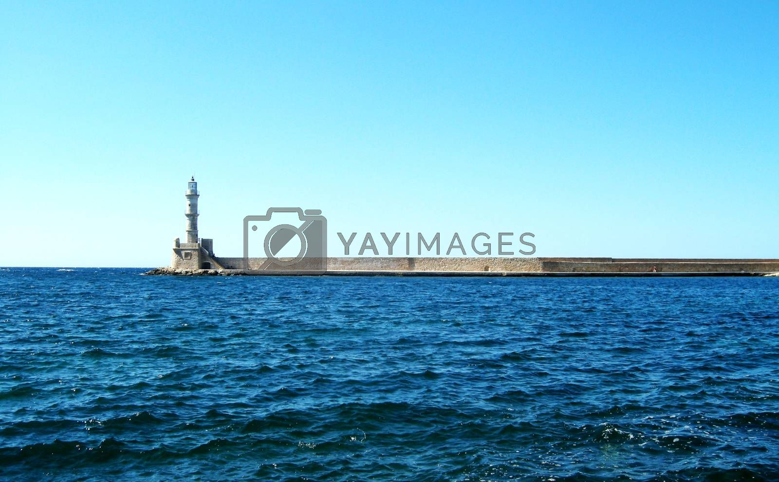 Side view of the lighthouse in Chania Old Port, in Crete Island, Greece.  Picture taken on July 27, 2010.