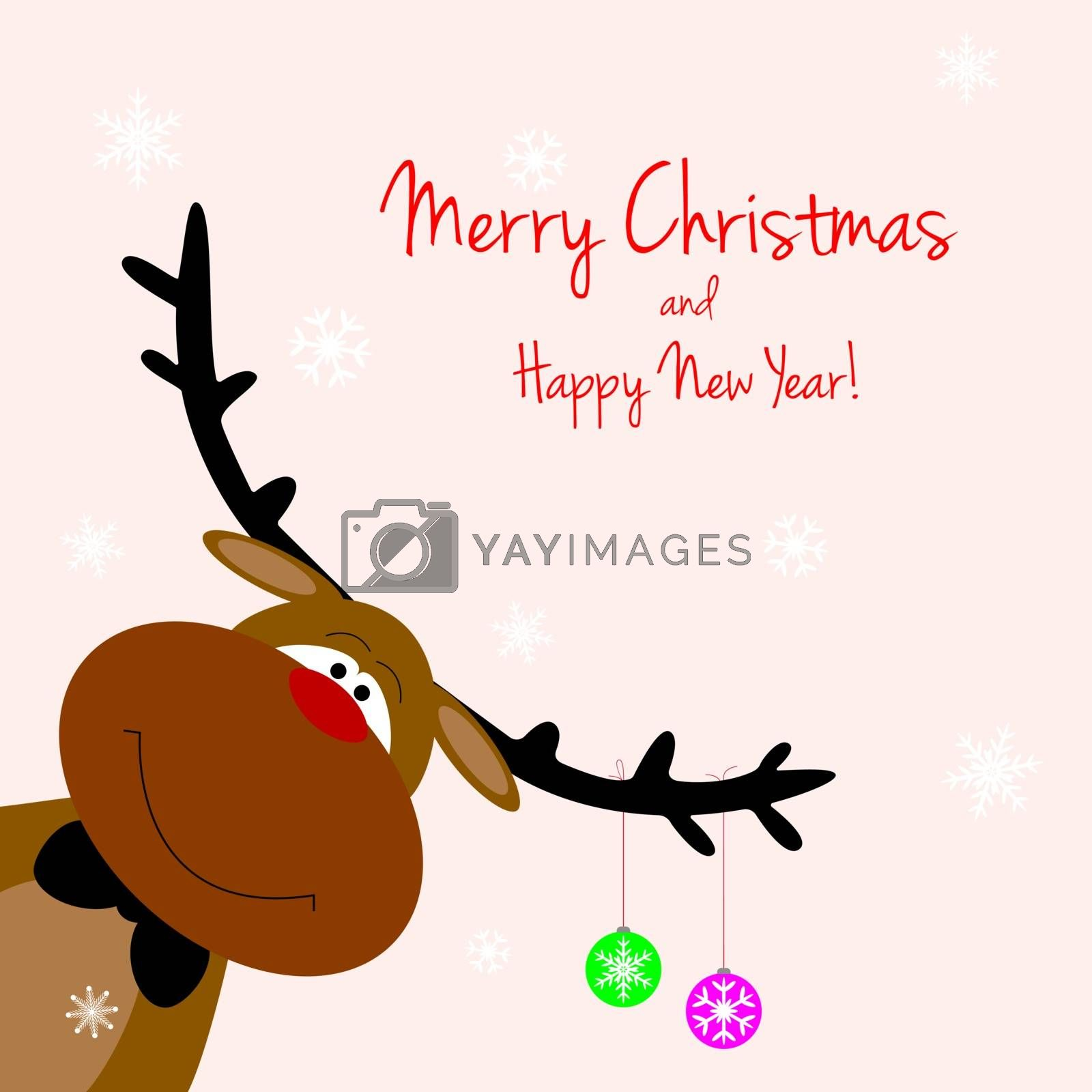 Cartoon reindeer on greeting cards with Christmas