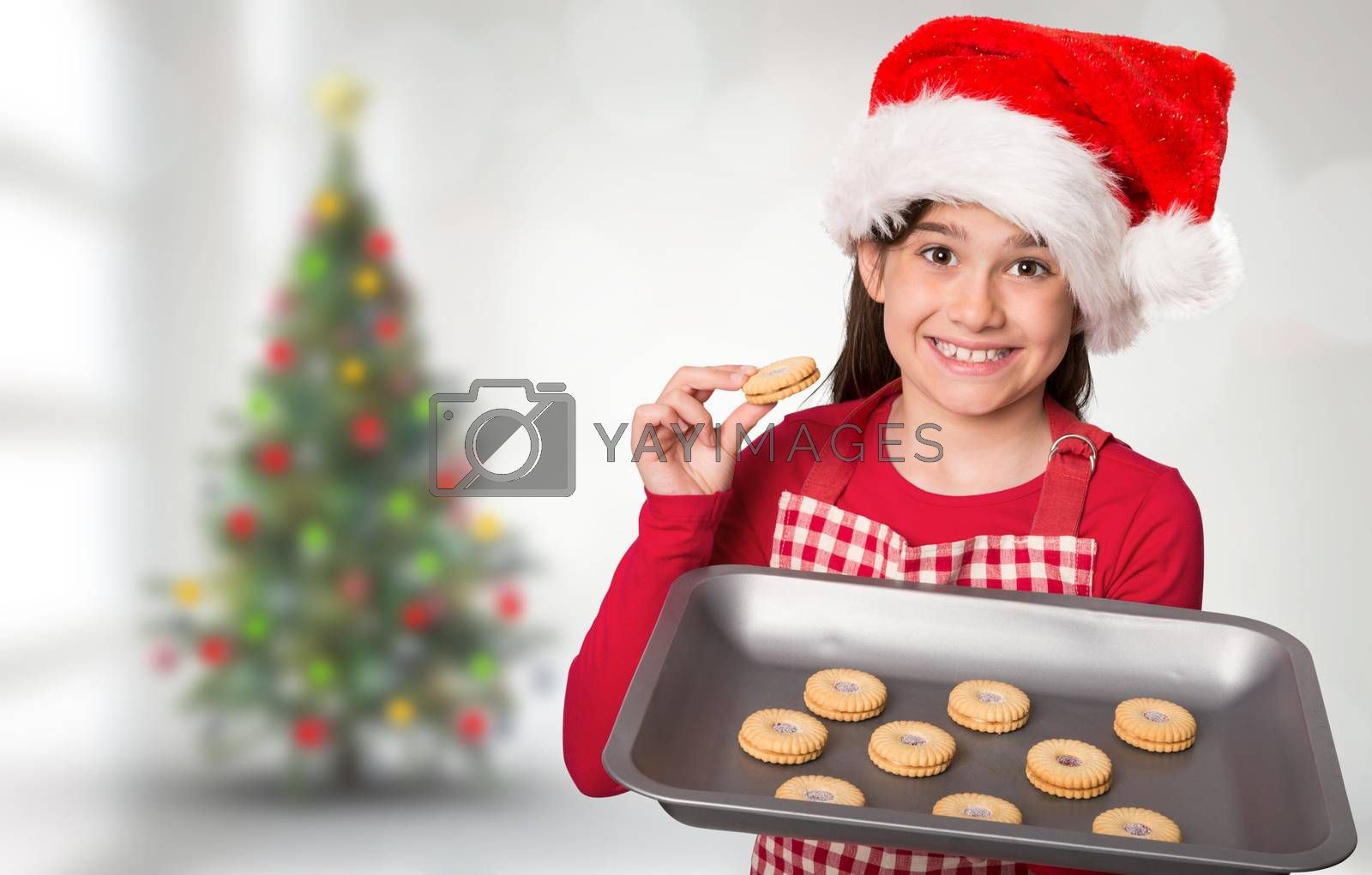 Festive little girl offering cookies against blurry christmas tree in room
