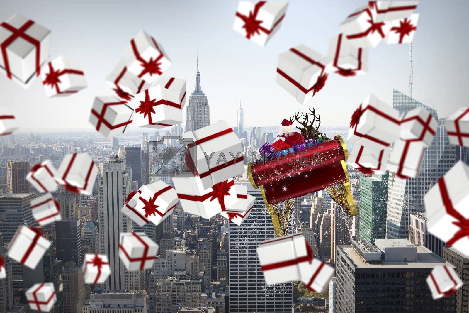 White and red christmas presents against city skyline