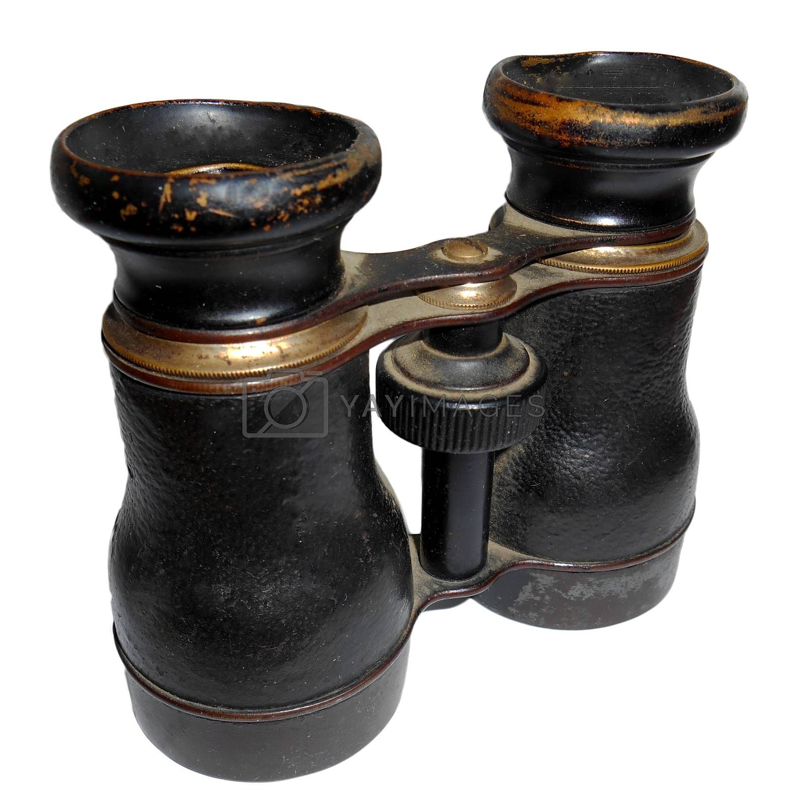 Old- fashioned binoculars, isolated on white.  Picture taken on November 22, 2014.