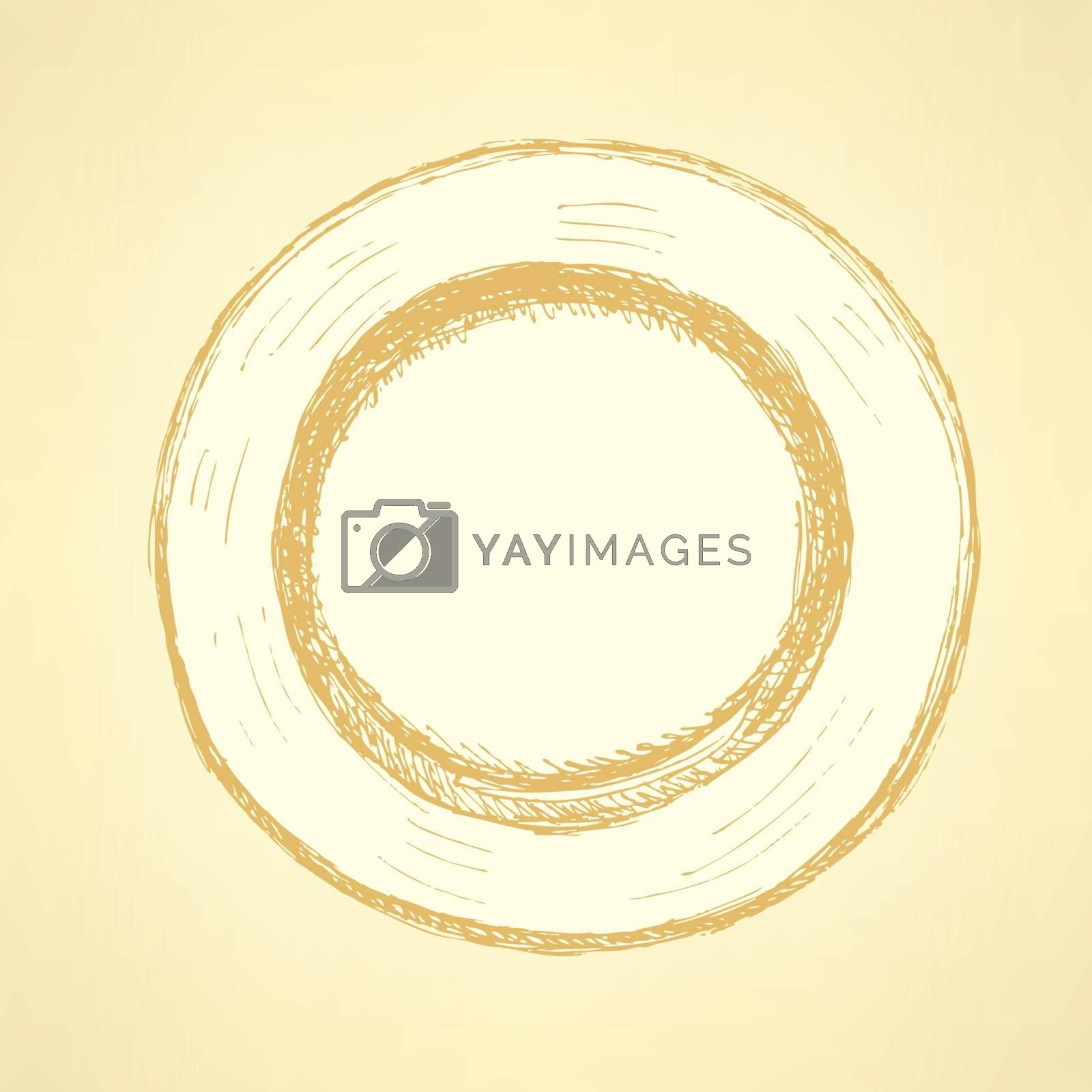 Sketch cute plate in vintage style, vector