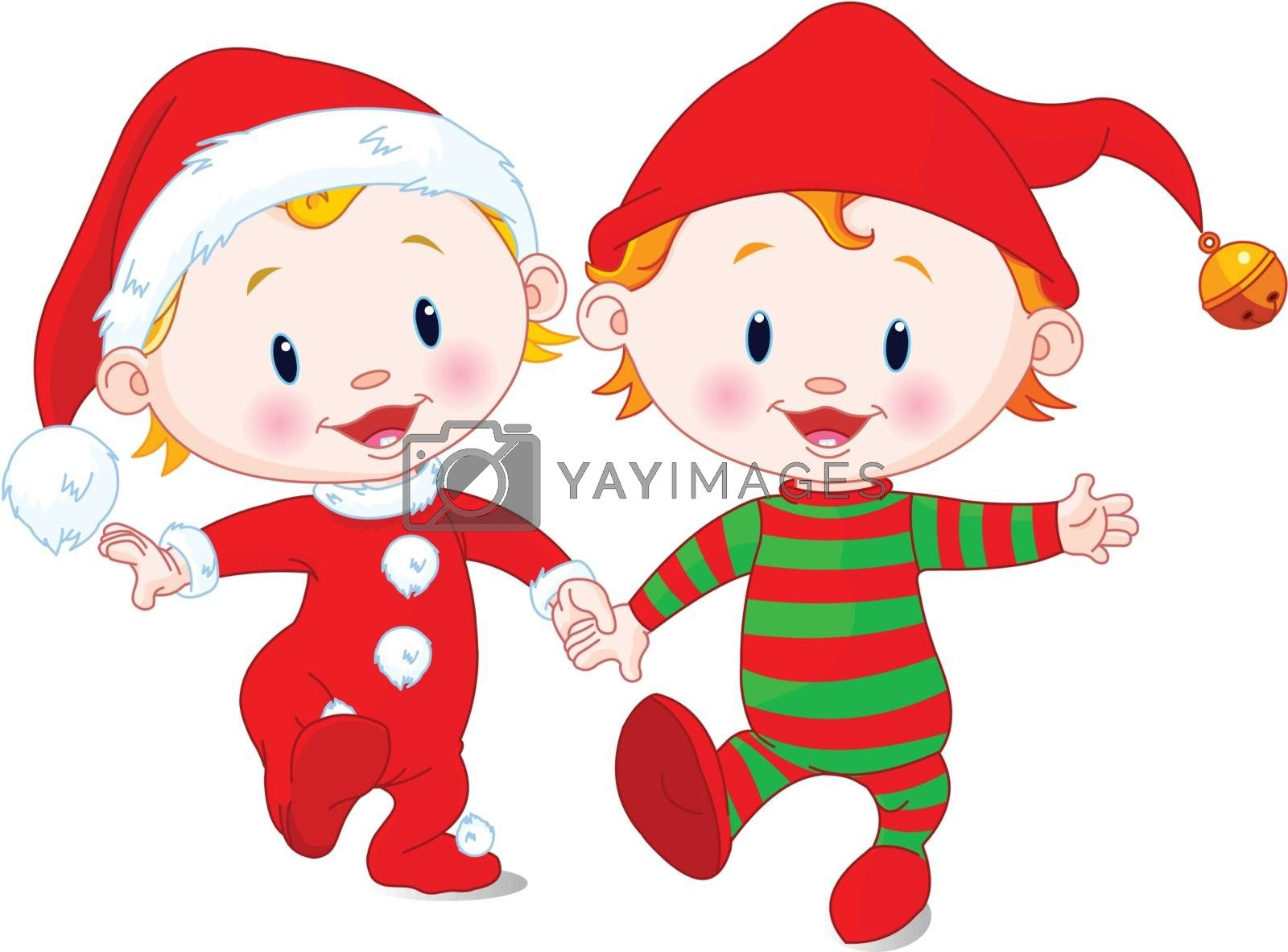 Two cute babies with Christmas costumes