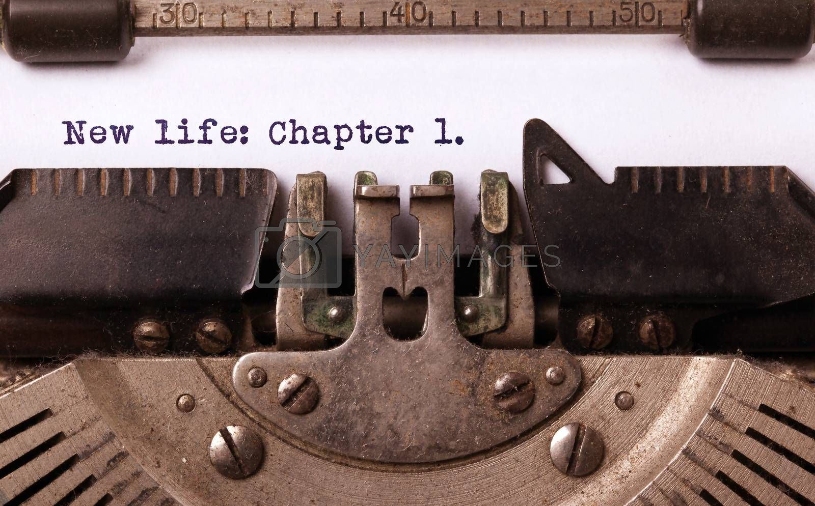 Vintage inscription made by old typewriter, New life: chapter 1