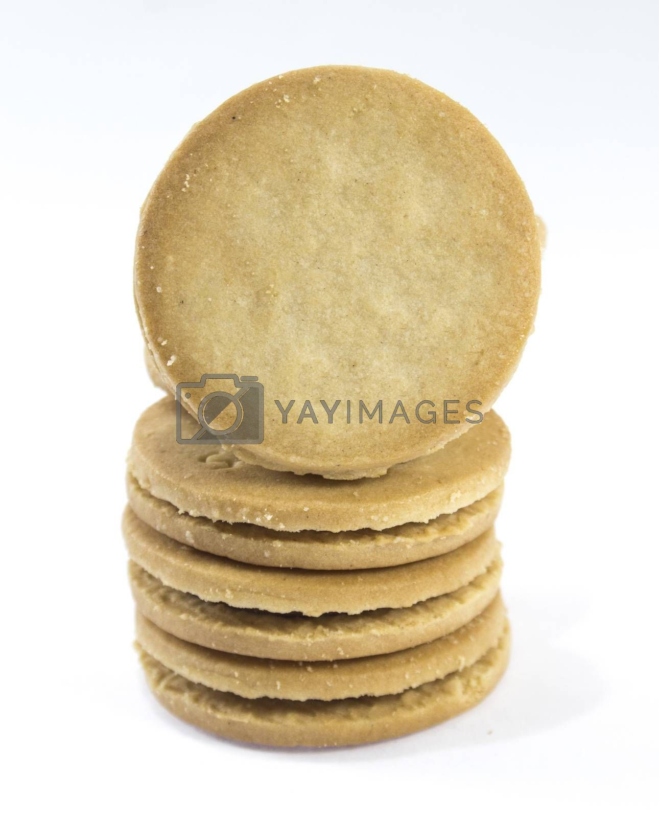 Sandwich biscuits, filled with chocolate, isolated on white background