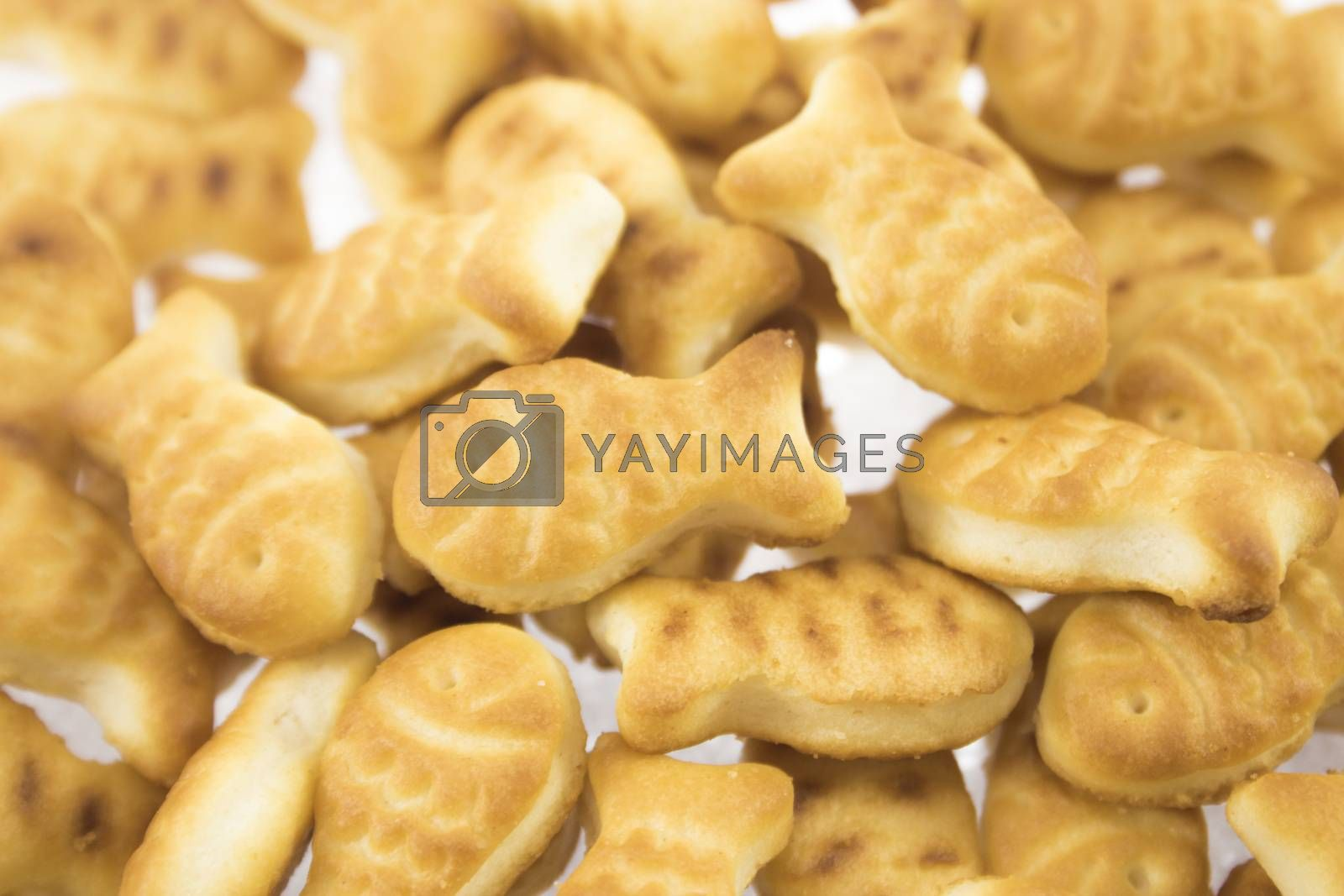 salted cookies stack on white background.