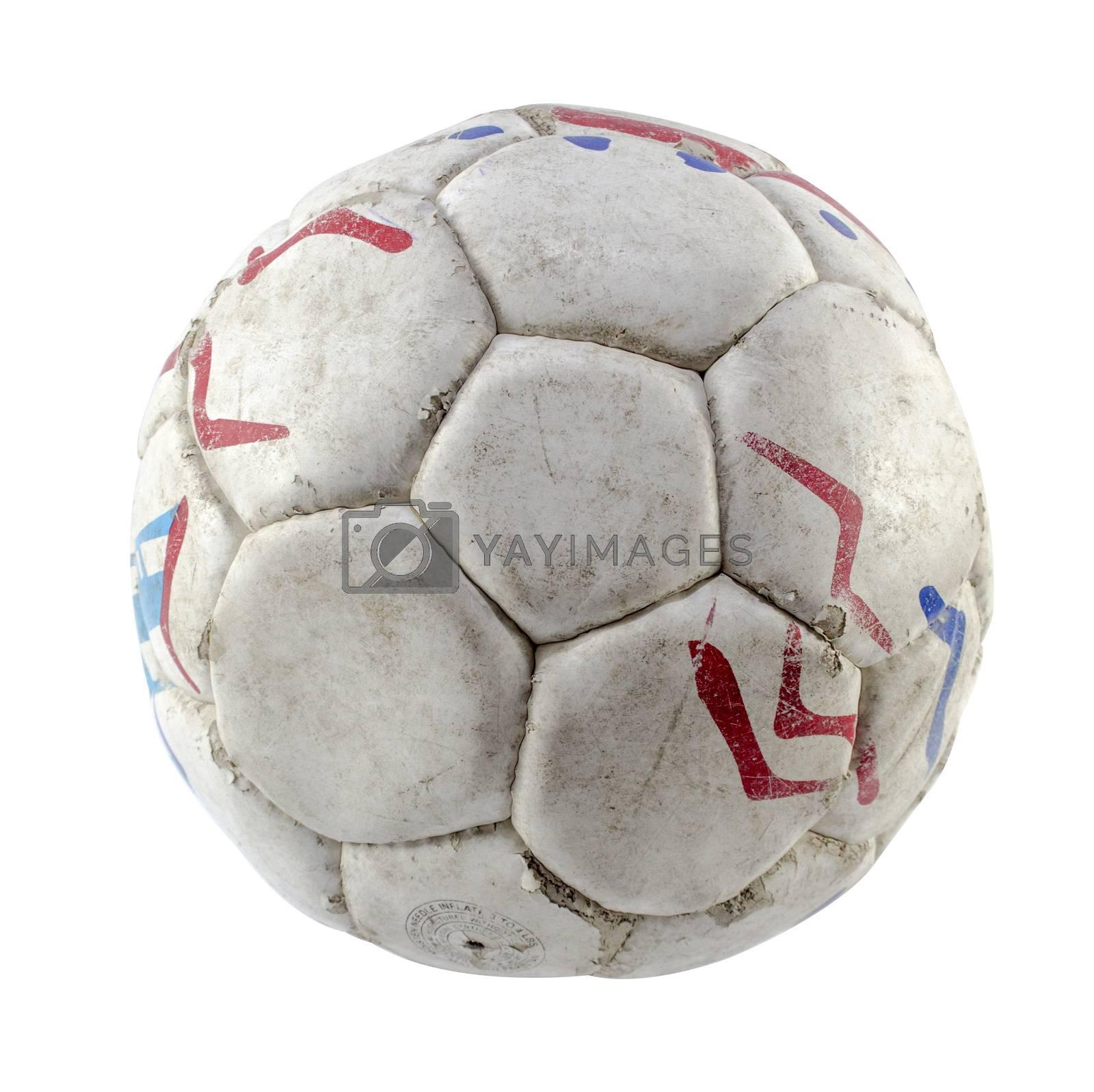 Grunge football or soccer ball on white background.