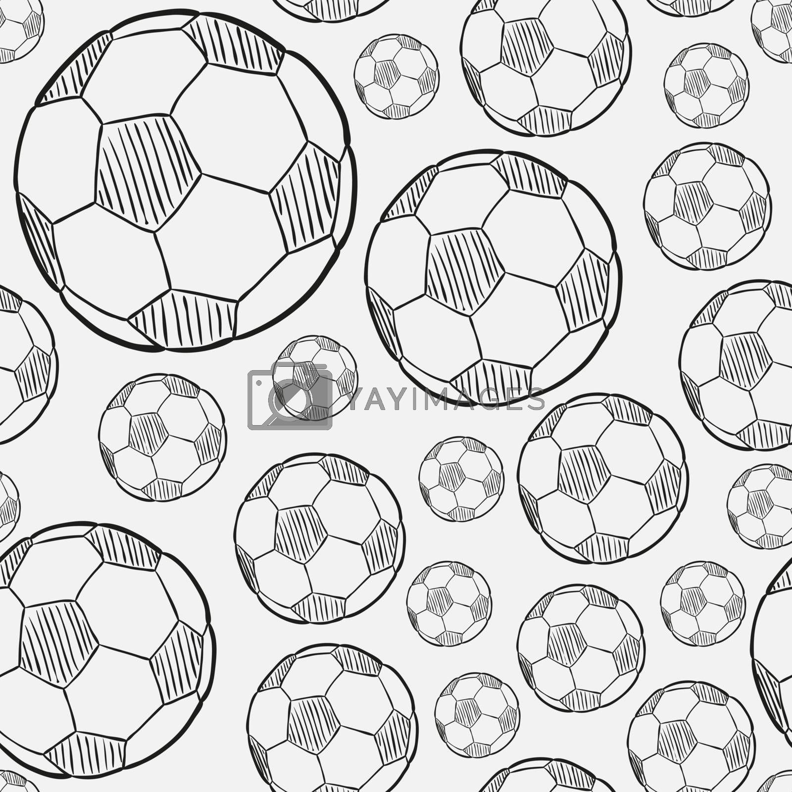 sketch of the football ball on white background