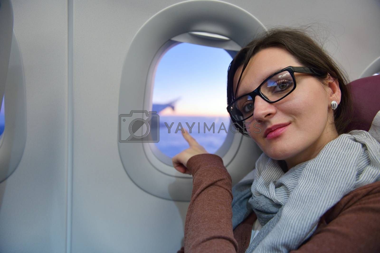 woman in airplane travel by .shock