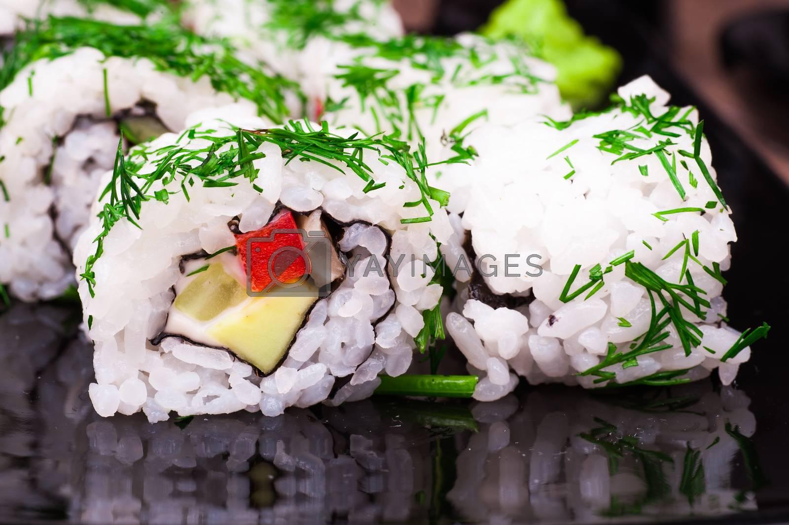 vegetarian sushi set roll on wooden background