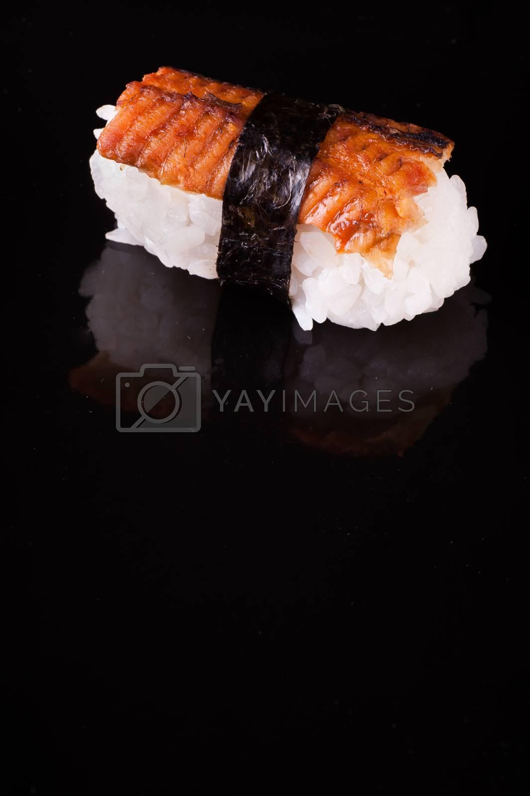 eel nigiri isolated on isolated black background