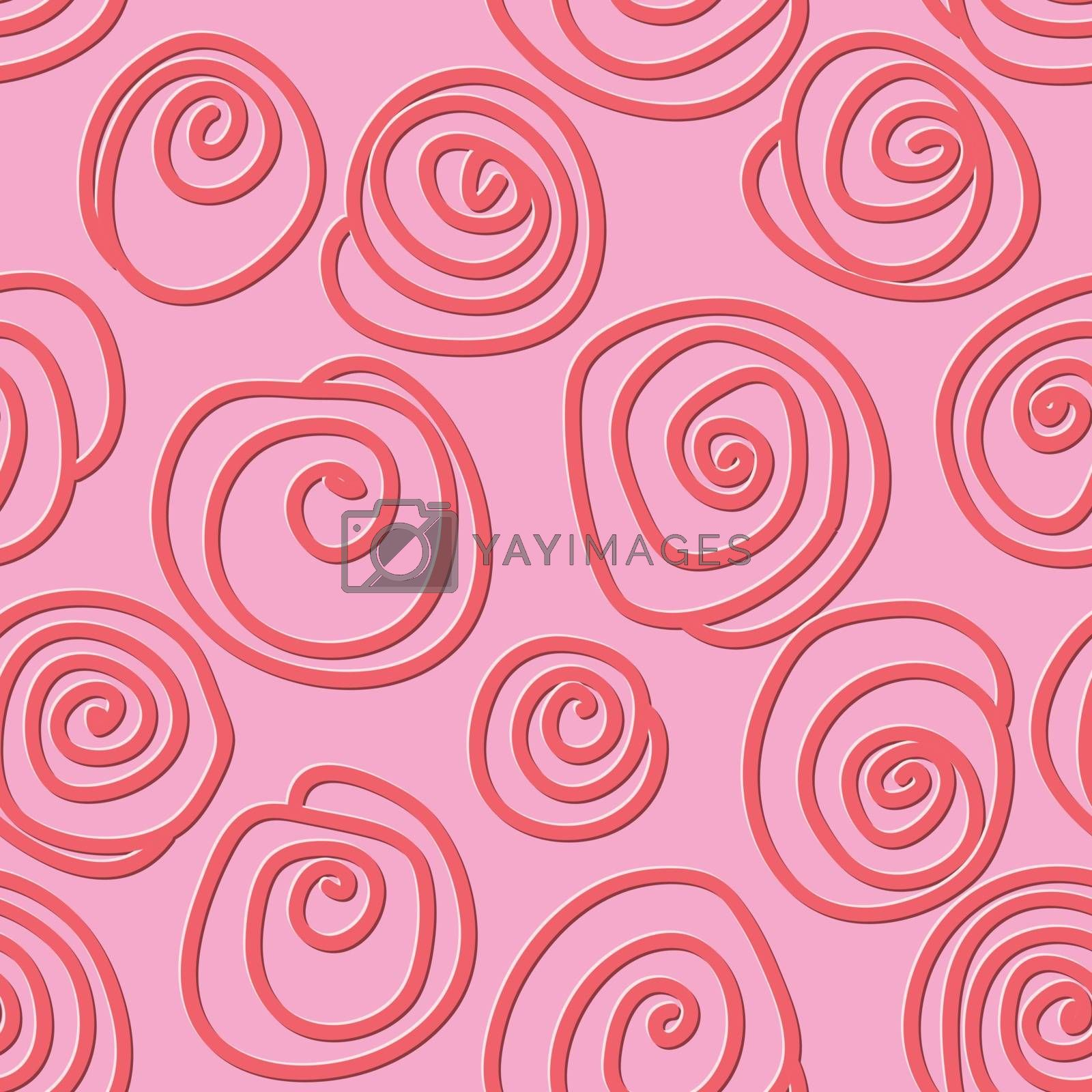 Circles and swirls seamless pattern in vintage style