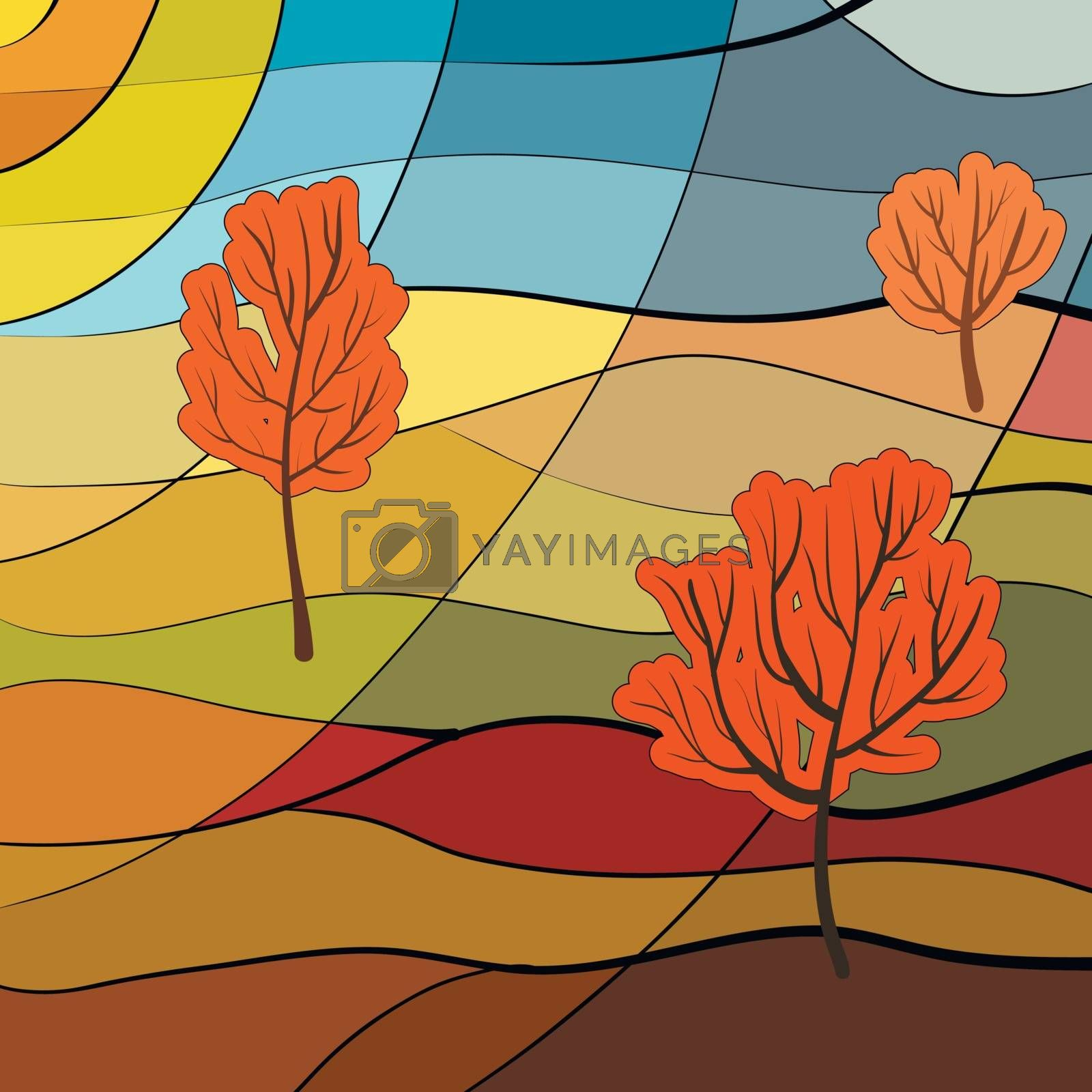 Autumn landscape in stained glass window style
