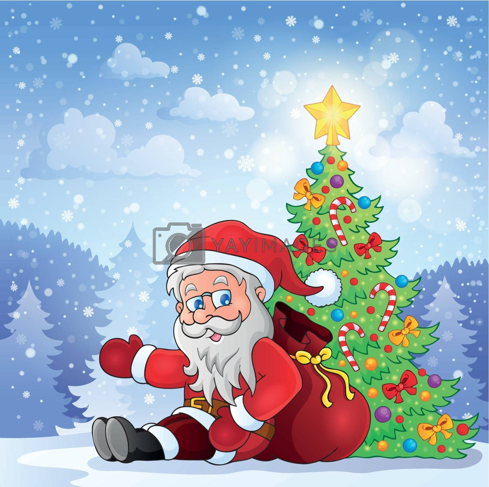 Santa Claus in snowy weather - eps10 vector illustration.