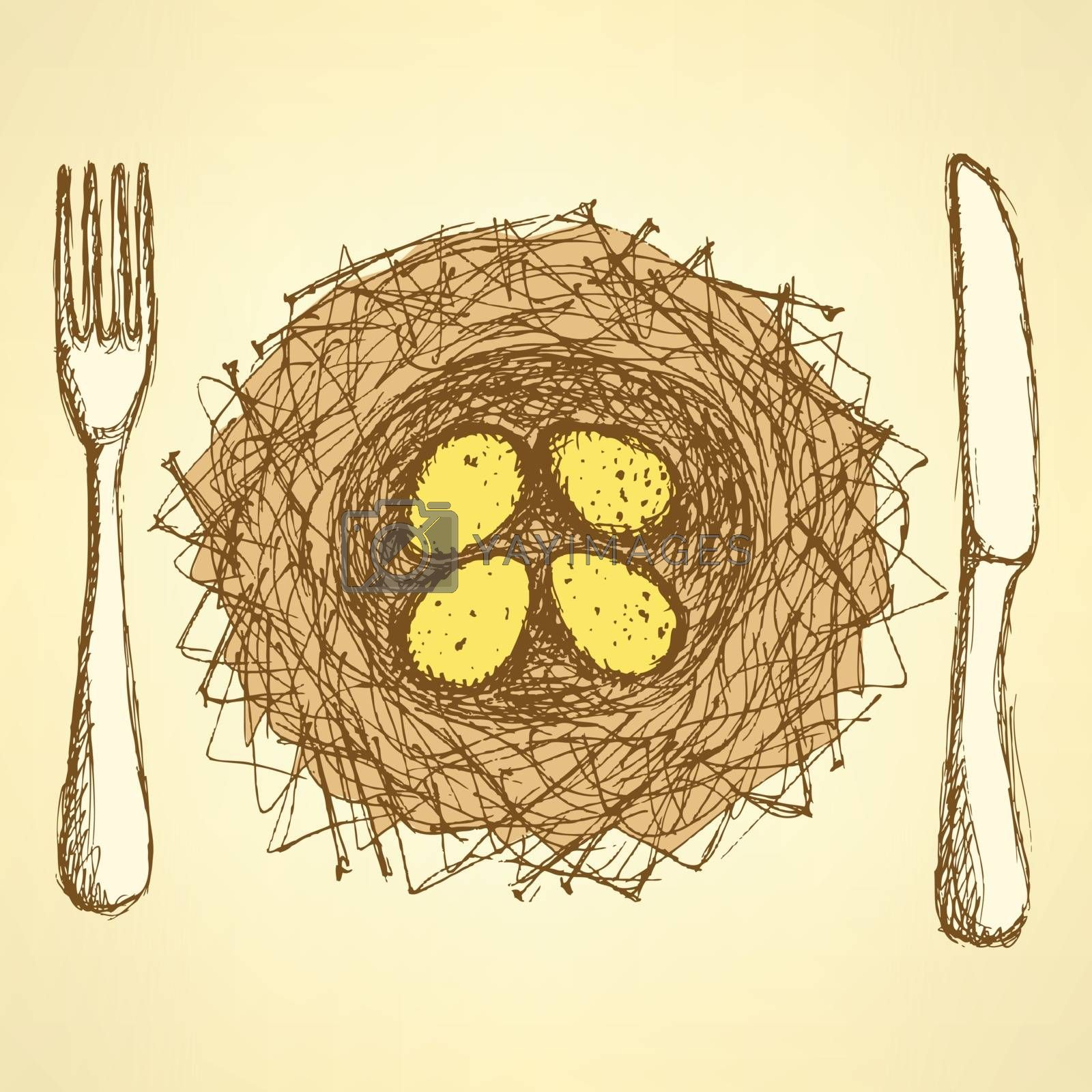 Sketch nest plate with fork and knife in vintage style, vector vegan background