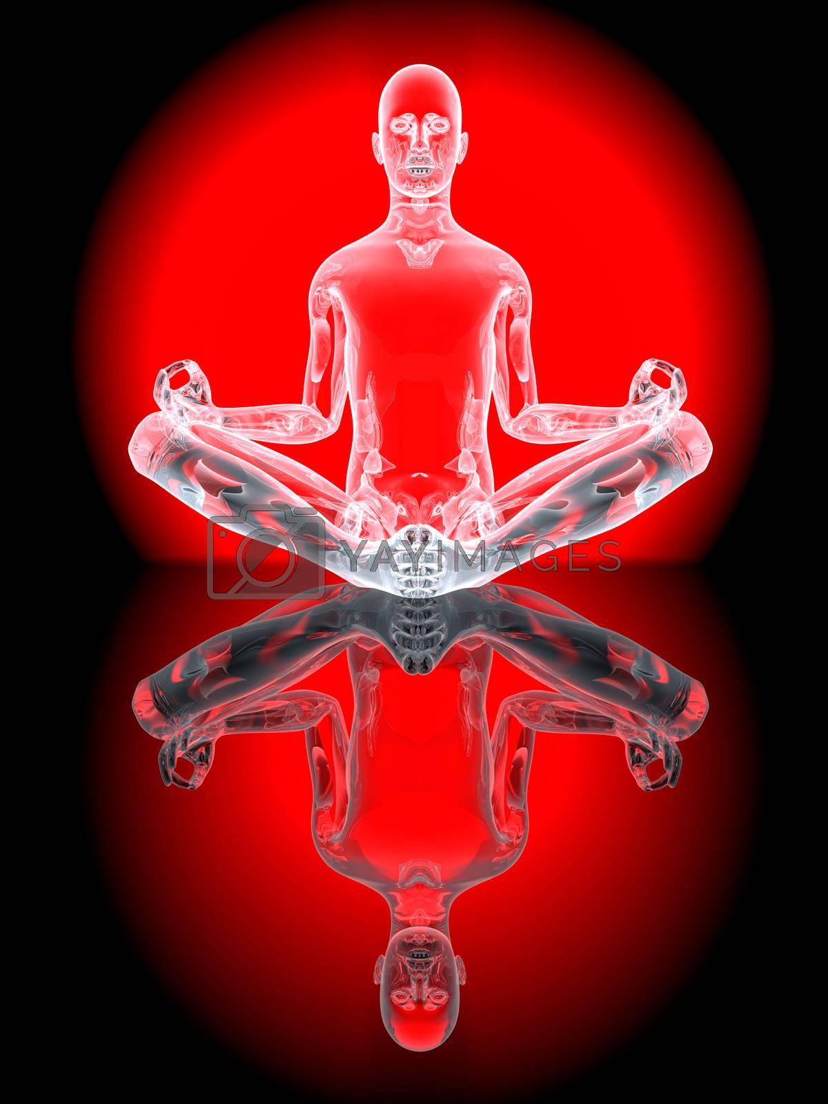 A yoga meditation pose. 3D Illustration.