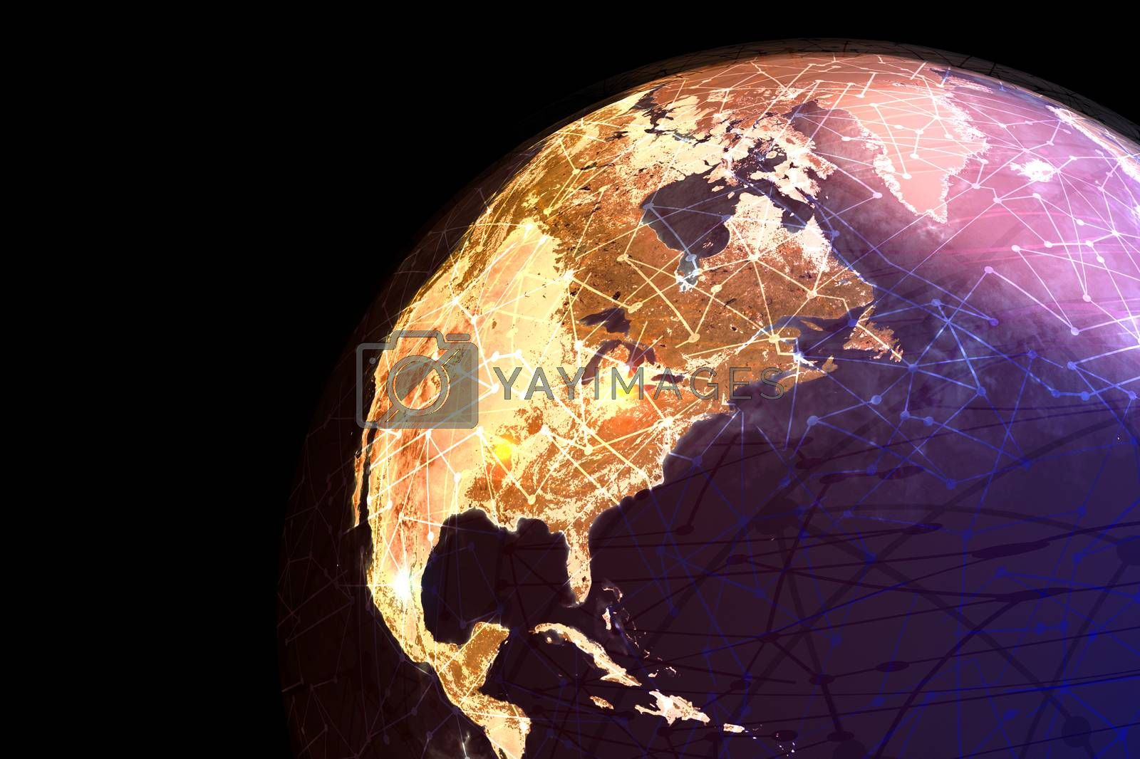 A globe showing global electronic communications and nodes.