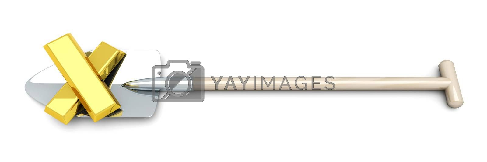 3D rendered Illustration. Isolated on white. Digging out the Gold.