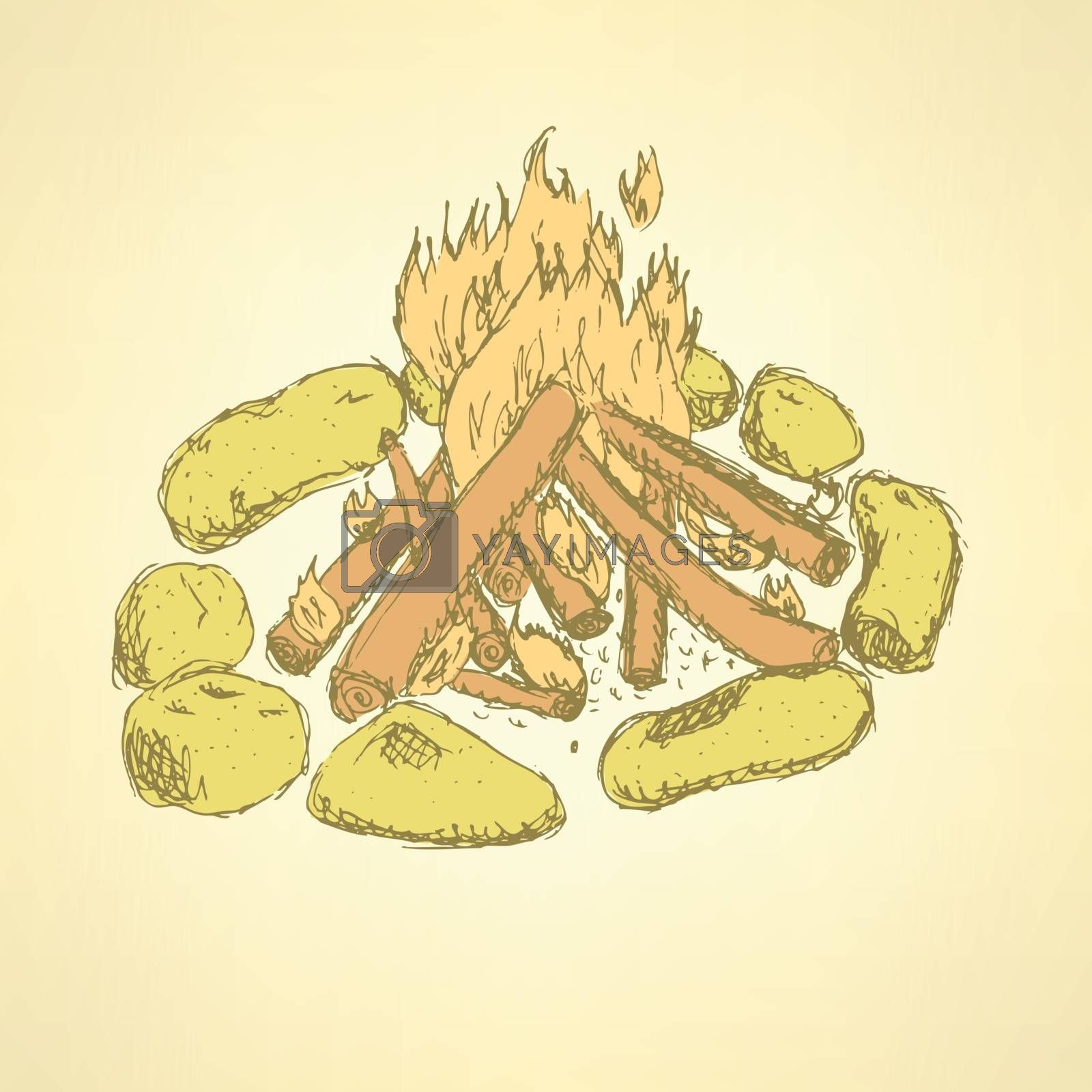Sketch camp fire in vintage style, vector