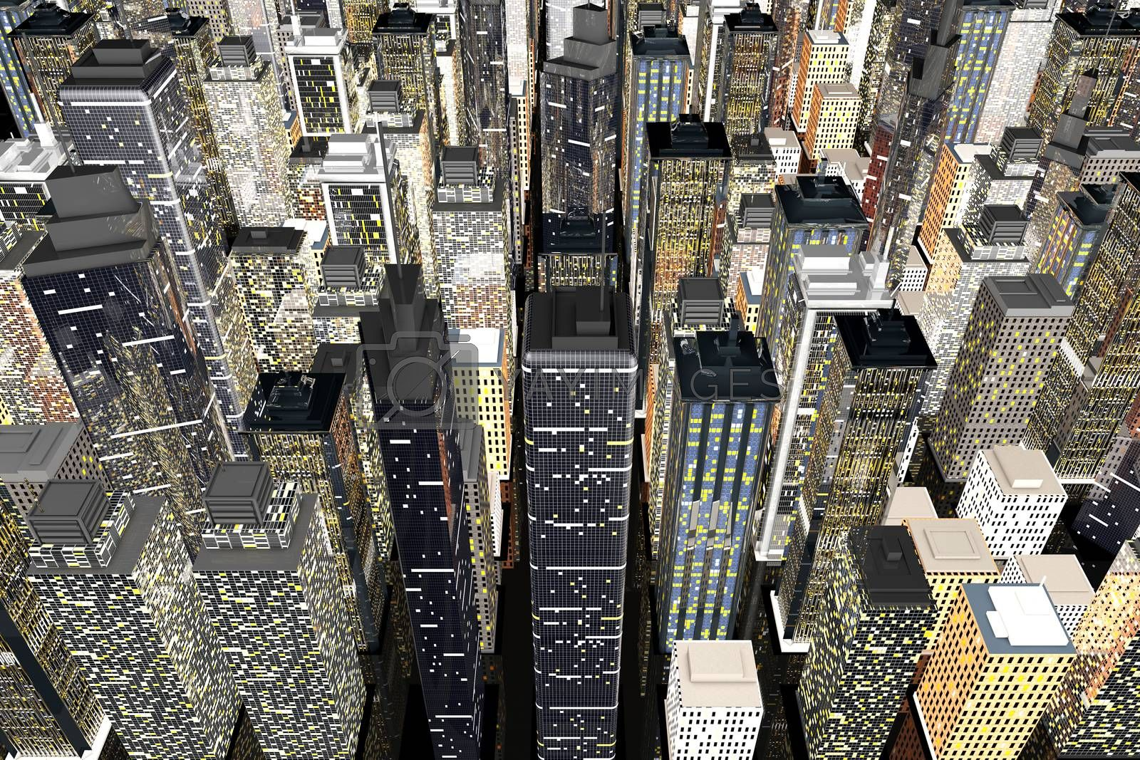 Generic urban architecture and skyscrapers forming a huge city. 3D rendered Illustration.
