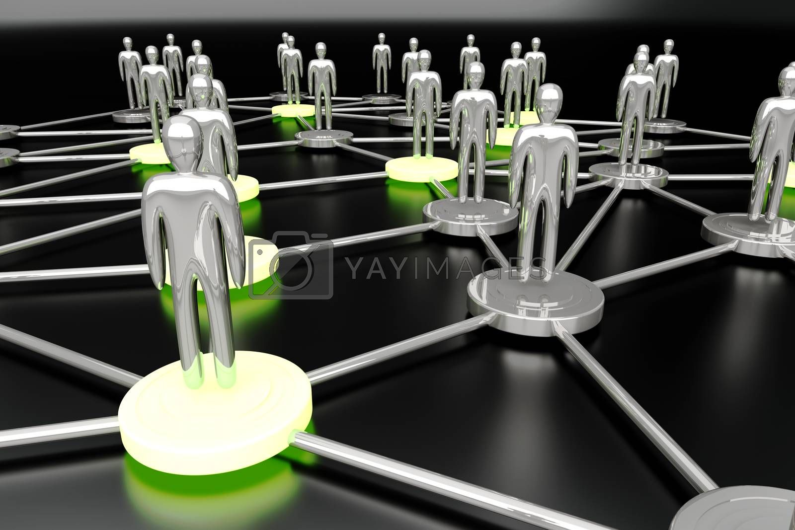 Activated nodes in a social network. 3D rendered Illustration.
