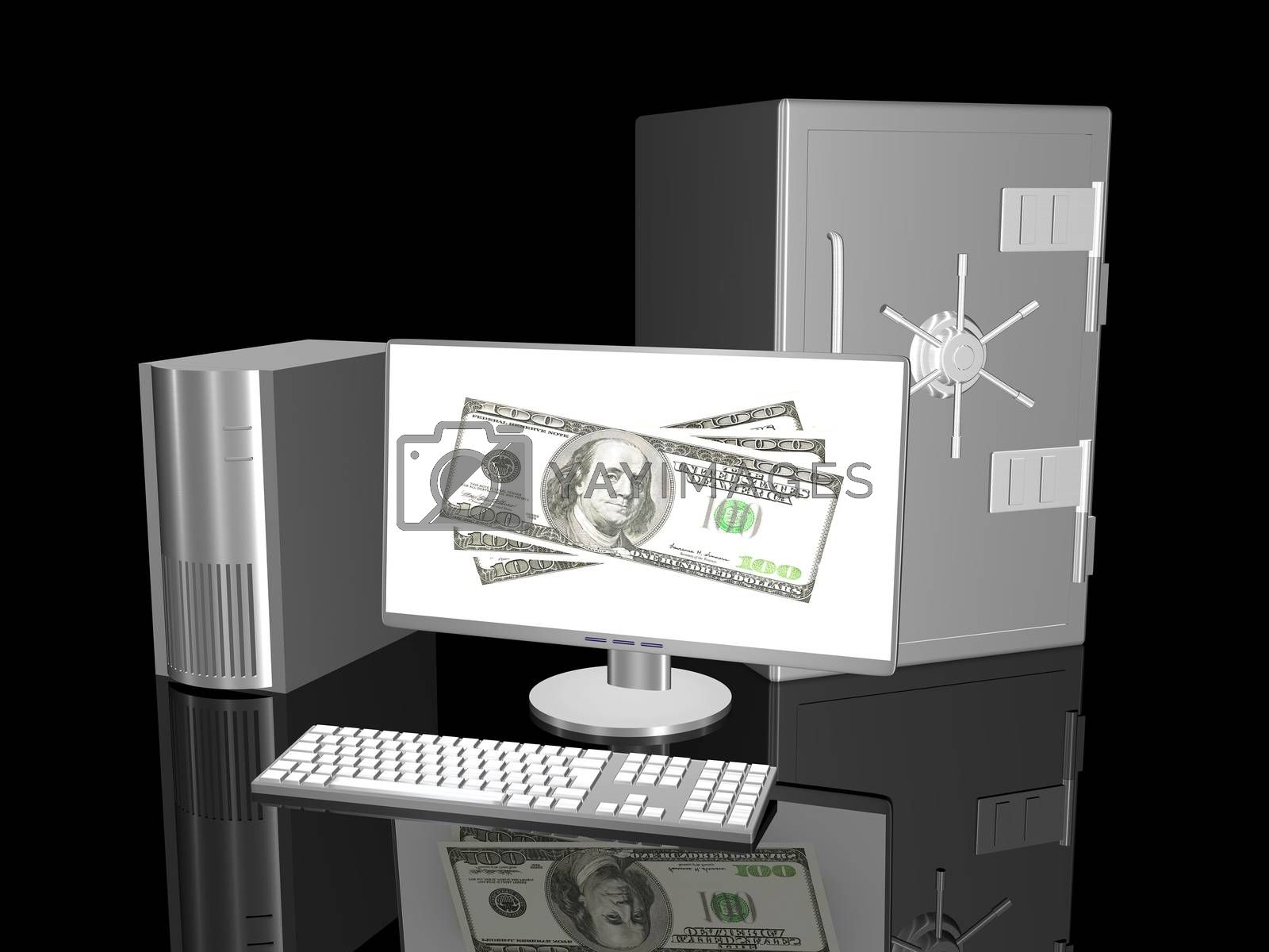 3D rendered Illustration. Online Banking