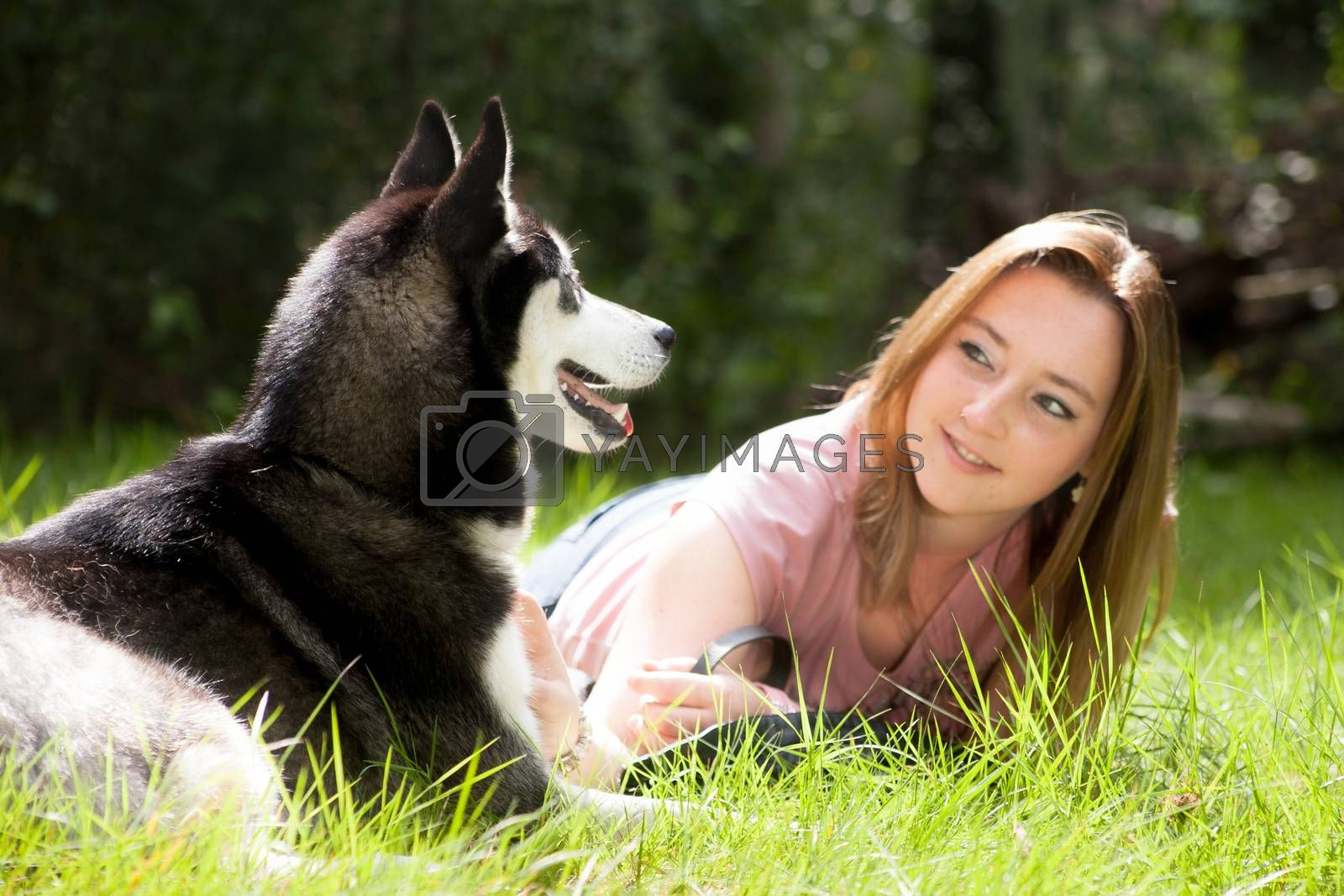 Woman and her dog by DNFStyle