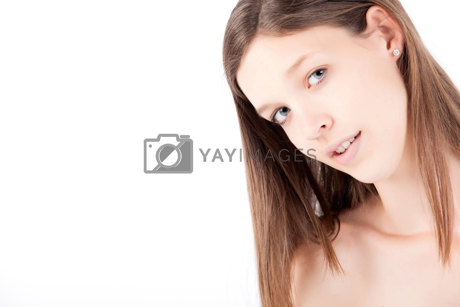 Young pretty woman photographed in the studio
