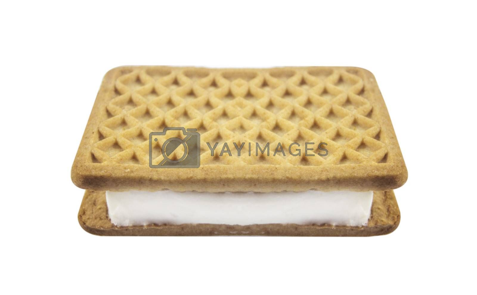 Vanilla and cookie ice cream sandwich bar on white background.