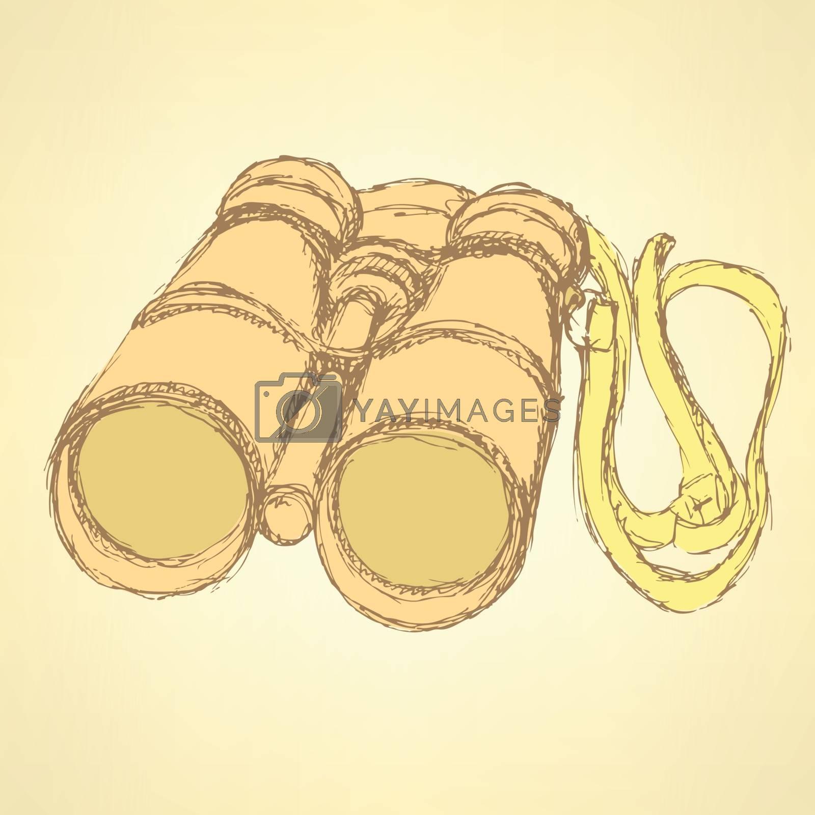 Sketch cute binocular in vintage style, vector