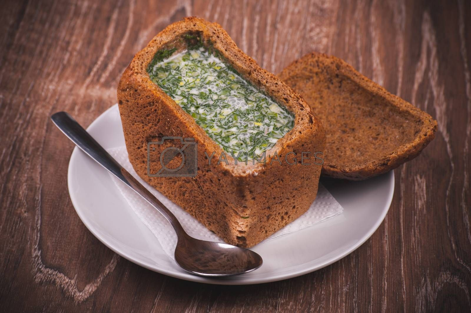 eastern european soup okroshka served in bread