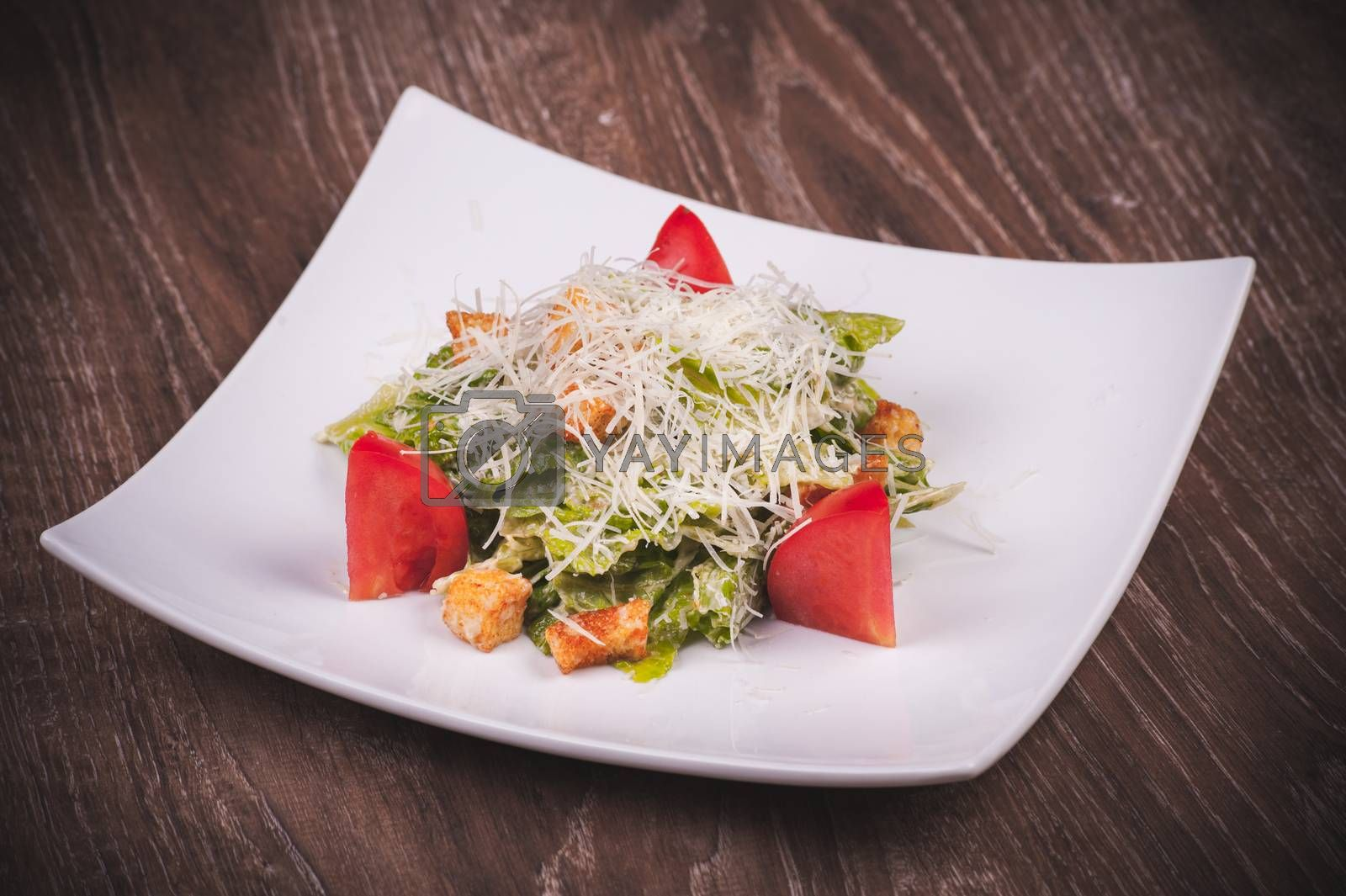 vegetarian cesar salad with tomato, croutons and cheese on white plate