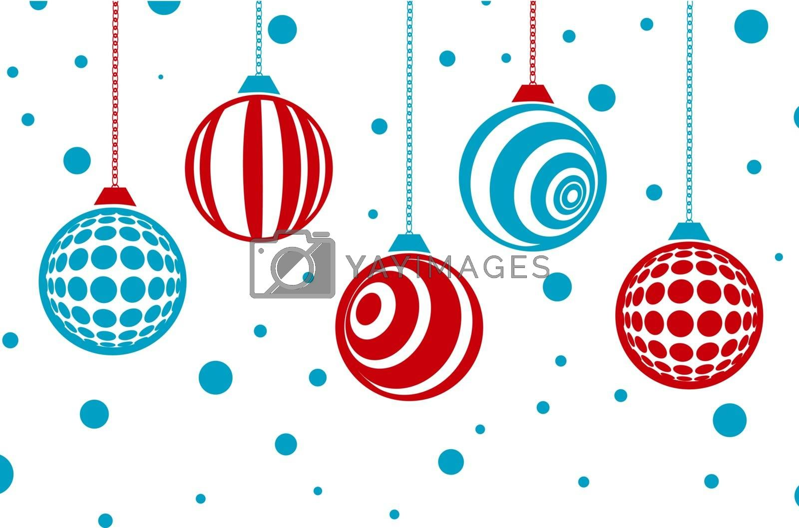 Winter Holiday Christmas Card With Baubles (Without Gradients, 2 Colours)