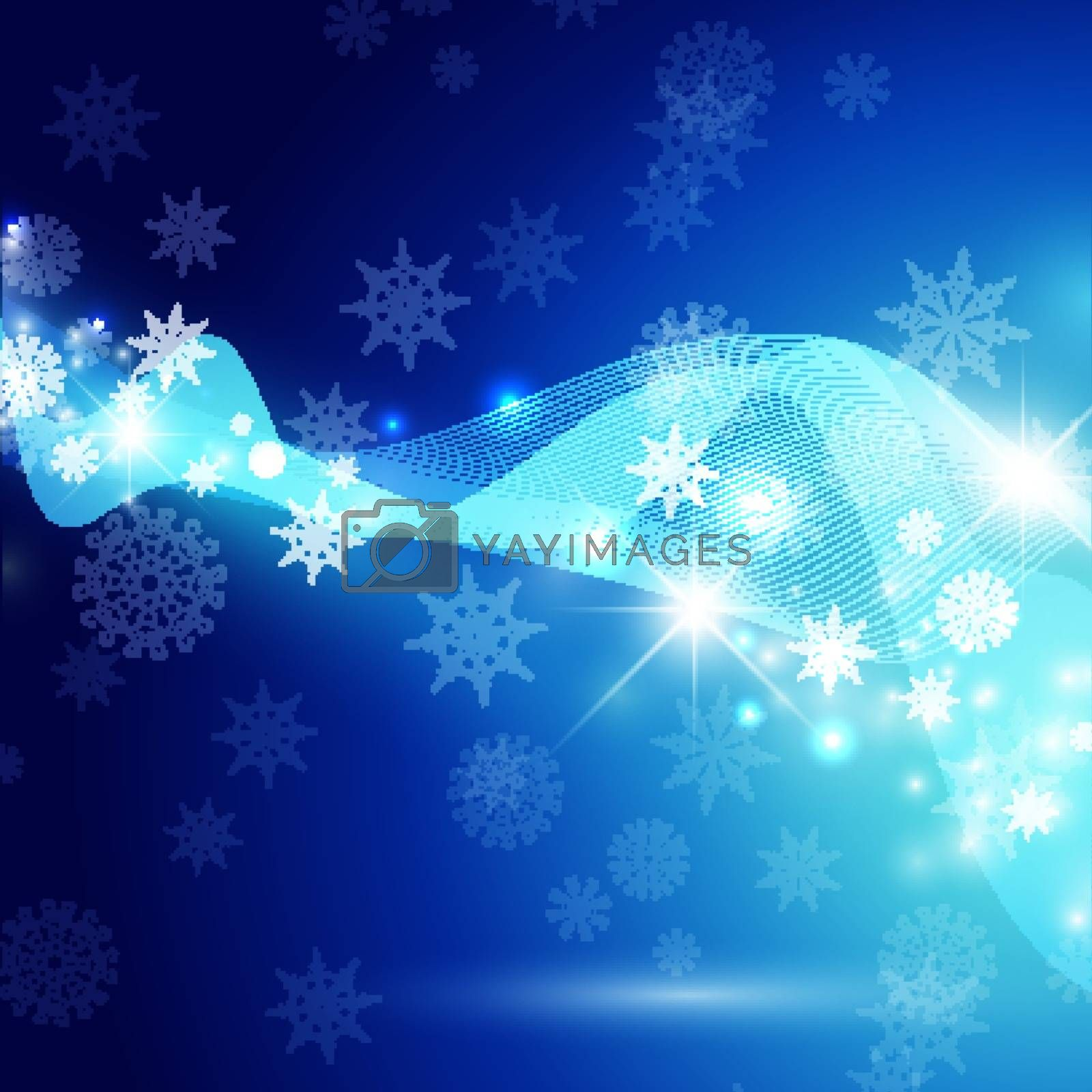Christmas Winter Holiday Abstract Background With Snowflakes, Lights and Stars